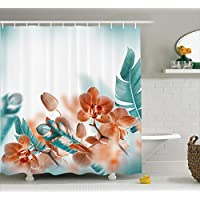 Ambesonne Tropical Decor Shower Curtain, Tropical Orchids Blossom Leaves on Blurred Background Floral Themed Modern Art, Fabric Bathroom Set with Hooks, 69W X 70L Inches Long, Orange Teal