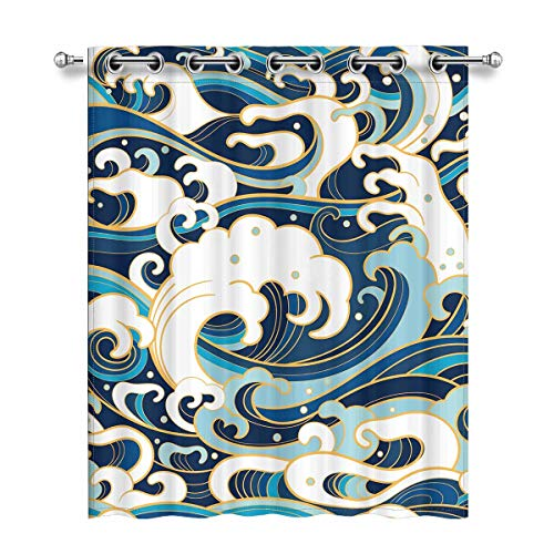 3fdd74ee6231 InterestPrint Traditional Oriental Pattern with Ocean Waves Grommet Curtain  Panel Set of 2, Blackout Curtains for Bedroom, 52X63 Inch