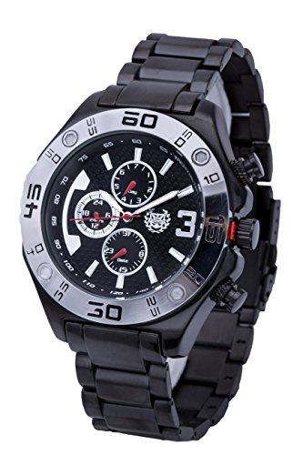 ShoppeWatch Mens Watch Reloj Black Metal Bracelet Multifunction Day Date Large Face AQ202822G