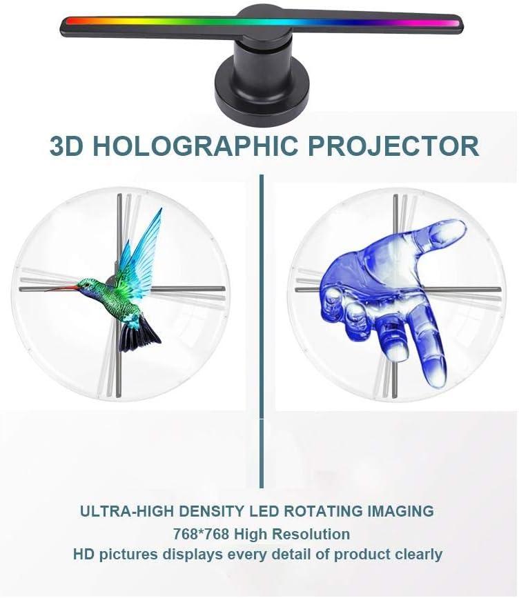 WiFi Tragbarer Hologramm Spieler Werbemaschine Fan,3D Projektor Advisement Displayer mit 100000 Stunden Lampenlebensdauer f/ür Hotel//Bank 3D Hologramm Projektor WiFi