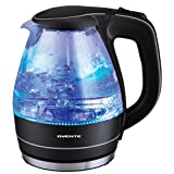 Ovente 1.5 Liter BPA Free Glass Cordless Electric Kettle, Black (KG83B)