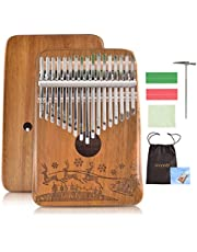 $22 » Kalimba Thumb Piano 17 Keys,GECOTY 17 Key Kalimba with Engraved Notes,Portable Mbira Wood Acacia Kalimba,Tuning Hammer and Study Instruction,Finger Piano Instrument Christmas Gift for kids Beginners