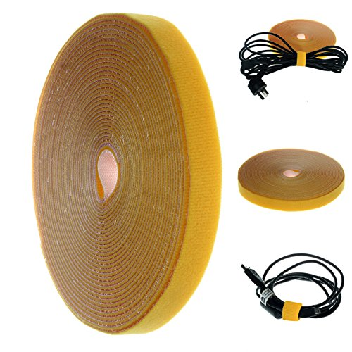 HIMRY® 15 m x 15mm Cable de Velcro Bridas sujeta Cables, Tidy Rollo de Velcro Re-Reutilizable, Tiras de Velcro para Cable Organizador, Amarillo, KXB5011 Yellow