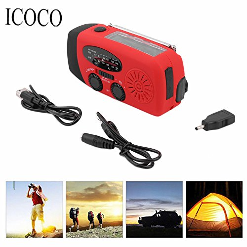 3 in 1 Emergency Charger Hand Crank Generator Wind/Solar/Dynamo Powered FM/AM Radio,Phones Chargers LED Flashlight