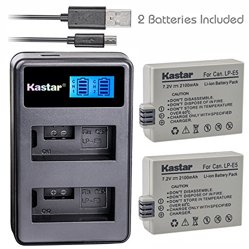 Kastar Battery (X2) & LCD Dual Slim Charger for Canon LP-E5 LPE5 and Canon EOS Rebel XS, Rebel T1i, Rebel XSi, 1000D, 500D, 450D, Kiss X3, Kiss X2, Kiss F digital camera, BG-E5 grip (Canon Xsi Rebel Battery Grip)