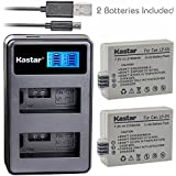 Kastar Battery (X2) & LCD Dual Slim Charger for Canon LP-E5 LPE5 and Canon EOS Rebel XS, Rebel T1i, Rebel XSi, 1000D, 500D, 450D, Kiss X3, Kiss X2, Kiss F digital camera, BG-E5 grip