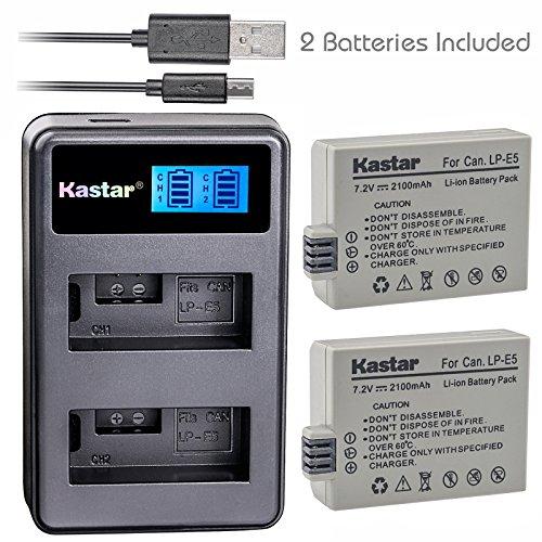 Kastar Battery (X2) & LCD Dual Slim Charger for Canon LP-E5 LPE5 and Canon EOS Rebel XS, Rebel T1i, Rebel XSi, 1000D, 500D, 450D, Kiss X3, Kiss X2, Kiss F digital camera, BG-E5 grip