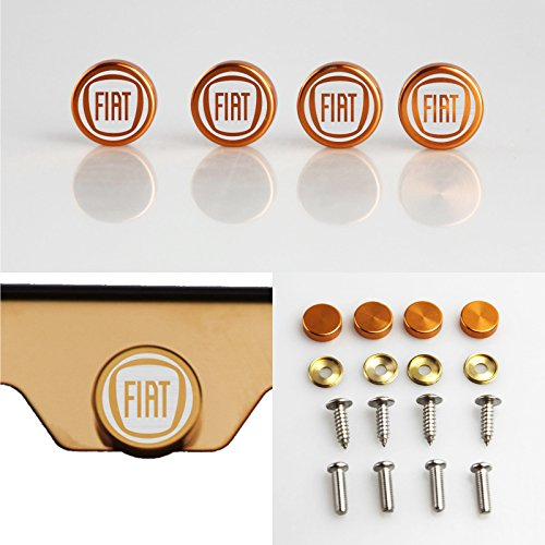Set of 4 Fiat Logo Laser Engraved Rose Gold Aluminum Metal Cap Stainless Steel Screw for Car License Plate - Gucci Logo Colors