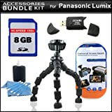 Accessory Kit For Panasonic Lumix DMC-LX5 Digital Camera Includes 8GB High Speed SD Memory Card + High Speed 2.0 USB SD Card Reader + Gripster Tripod + LCD Clear Screen Protectors + More