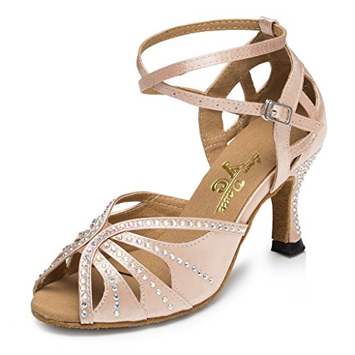 Satin Heel Flared Wedding US M 4 Party Miyoopark Beige Dance Women's Shoes xnEpCqI