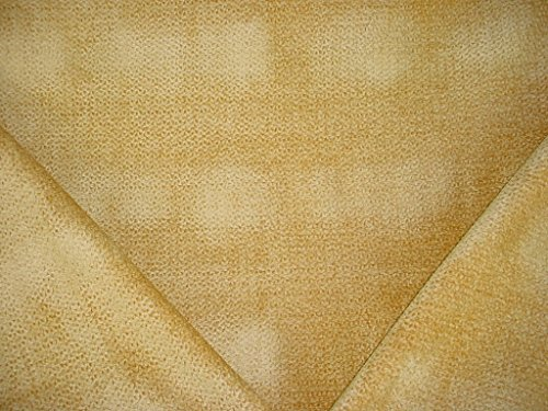 (195H5 - Yellow / Gold Textured Scalloped Chenille Upholstery Drapery Fabric - By the Yard)