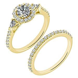 1.45 Carat G-H I2-I3 Diamond Engagement Wedding Anniversary Halo Bridal Ring Set 14K Yellow Gold