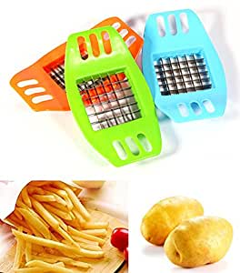 Amao French Fry Potato Cutter Peeler, Slicer, Grater, Vegetable and Fruit Cutter (blue)