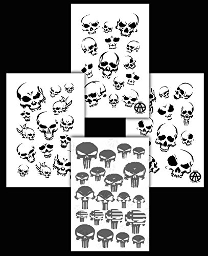 Acid Tactical 4PK Camouflage Spray Paint Camo Gun Stencils Adhesive & Mylar Punisher & Skulls -