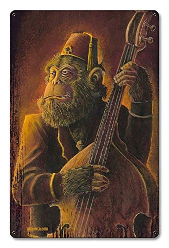 Vintage Styled Metal Sign Ape Rockabilly Chimp Monkey Art Upright Bass Tiki Bar ()