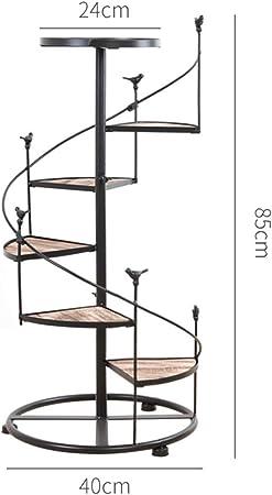 YONGYONG Escalera de Caracol de Hierro Forjado de múltiples Capas Escalera de 6 Pisos con balcón, Sala de Estar, Maceta Interior, Estante para macetas, 100 * 40 cm (Color : B85*40cm, Tamaño : 6): Amazon.es: Hogar