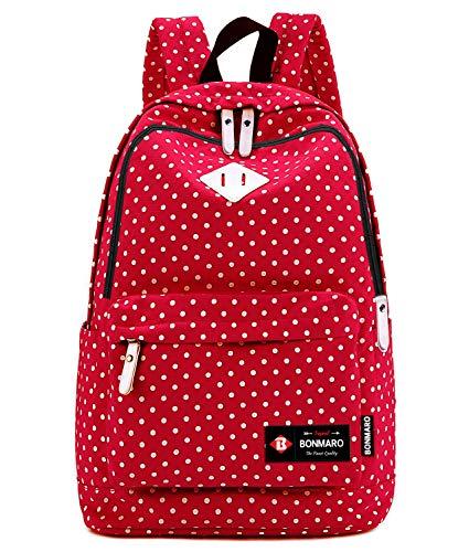 Bonmaro B Polka Dots Red Water Repellent School/College Backpacks for Girls/Women