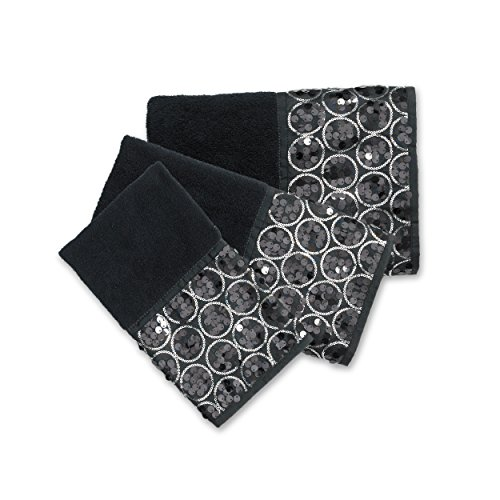 Popular Bath Bath Towels, Sinatra Collection, 3-Piece Set, Black ()