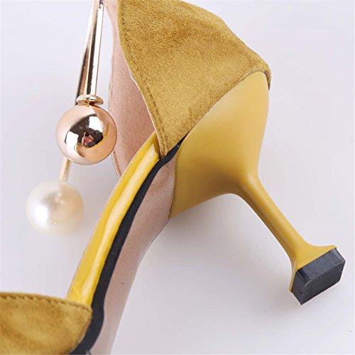 Lalang Damen Perle Verschluss Stilettos Sandalen Womens High Heels Schuh Gelb