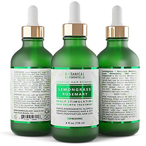Hair Growth Treatment Step 1: Lemongrass-Rosemary Lab Formulated Anti-Hair Loss Botanical DHT Blocker and Alopecia Prevention 4 Oz. (Lemongrass Dry Shampoo Hair)