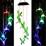 Solar Hummingbird Wind Chimes, Color-Changing LED Solar Mobile Wind Chime, Waterproof Six Hummingbird Wind Chimes For Home Party Night Garden Decoration