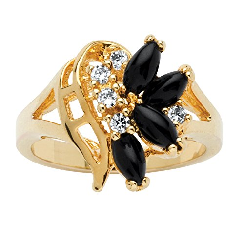 Lux 14K Yellow Gold-plated Marquise Cut Natural Black Onyx and Round Crystal Swirl Ring