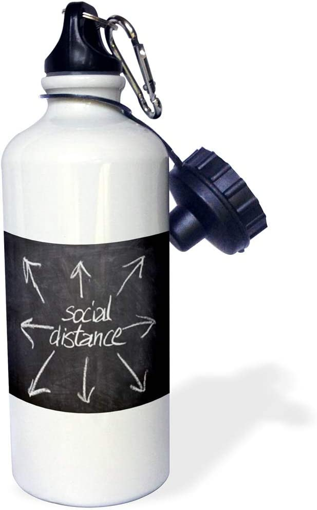 3dRose Social Distance Words with Arrows on Chalkboard Image, 3DRAMM - Water Bottles (wb_335563_1)