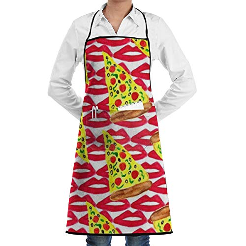 Lips Pizza Bib Apron for Women Men - Waterproof Chef Apron with Front Pocket for Kitchen Cooking Craft Baking -