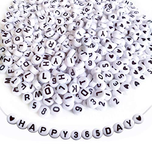 Amaney 1200 Pieces 4×7mm White Round Acrylic Alphabet Letter Beads A-Z Include 100pcs Heart Beads and Number Beads for Jewelry Making Bracelets Necklaces Key Chains and Kids Jewelry - Heart Alphabet Bead