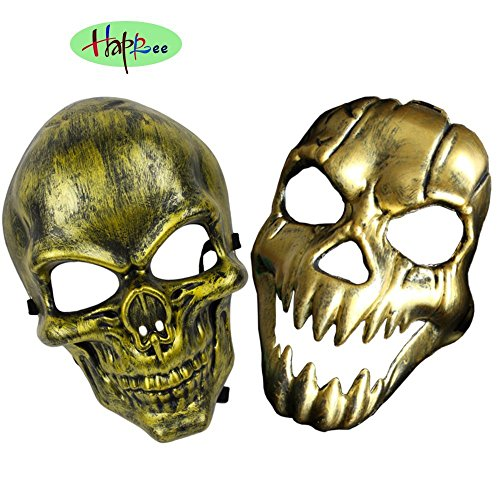 Happlee 2pcs/Set Halloween Masquerade Mask, Human skeleton Mask with Elastic (Movie Themed Halloween Costumes Ideas)