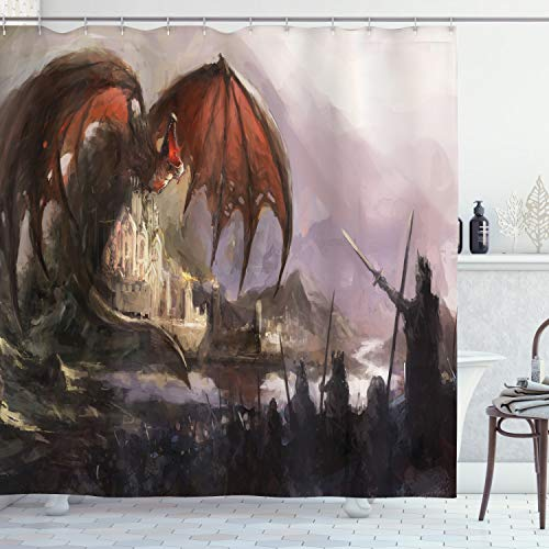 Ambesonne Dragon Shower Curtain, Medieval Fantasy Dragon and Dark Knights Scene with Fortress Castle Mystical, Cloth Fabric Bathroom Decor Set with Hooks, 75 Inches Long, Coral Grey