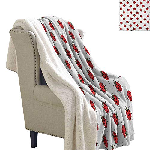 (Suchashome Ladybugs snuggies for Adults Ladybugs Pattern Bunch of Bugs Infinite Speckled Marked Insect Theme Playroom Kids Light Thermal Blanket 60x32 Inch Red White)