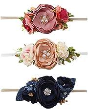 OOSAKU Baby Girl Headbands Floral Nylon Elastic Newborn Infant Toddler Kids Hair Accessories