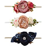 OOSAKU Baby Girls Stretchy Floral Headbands Nylon Elastic Newborn Infant Toddler Kids (Color A)