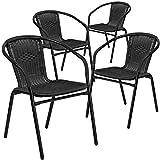 Flash Furniture 4 Pk. Black Rattan Indoor-Outdoor Restaurant Stack Chair For Sale