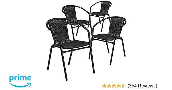 Amazon Com Flash Furniture 4 Pk Black Rattan Indoor Outdoor