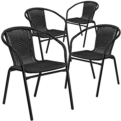 Plastic Patio Arm Chair - Flash Furniture 4 Pk. Black Rattan Indoor-Outdoor Restaurant Stack Chair