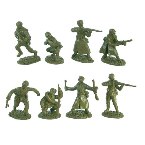 WWII Russian Infantry Plastic Army Men: 16 piece set of 54mm Figures 1:32 scale