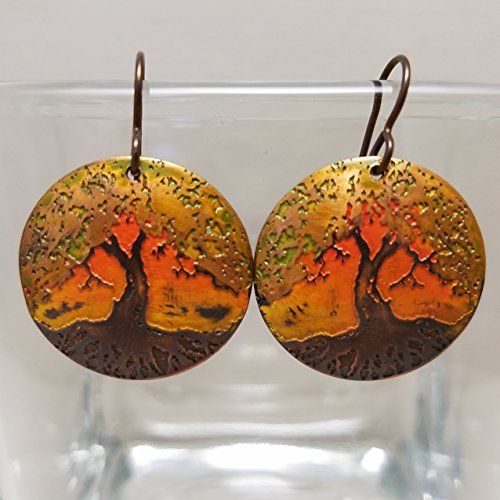 Etched Copper Tree of Life Earrings