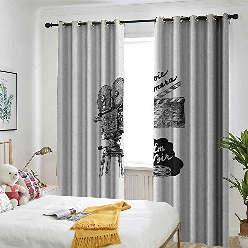 Bedroom Curtains Bedroom Room Dark Blackout Curtain Room/Children's Room Movie Theater,Antique Movie Camera Hand Drawn Style Art Collection Film Noir Genre Theme Black White ()