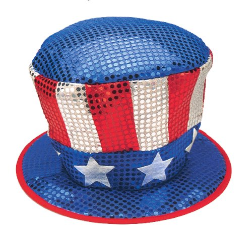 Sequin Uncle Sam Costumes (Jacobson Hat Company Men's Red White and Blue Sequin Top Hat with Stars, Multi, One Size)