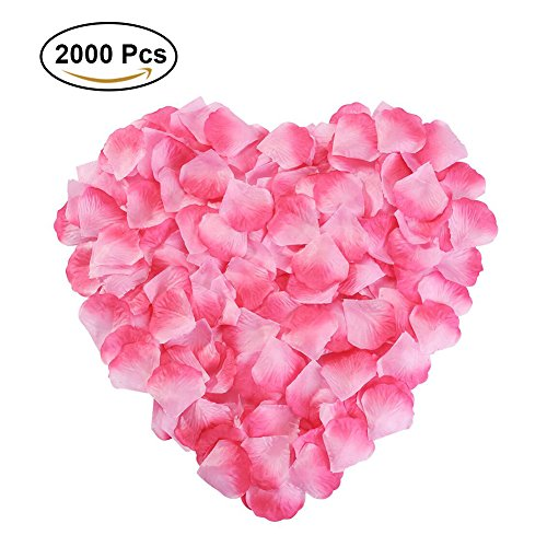 Pink Red Flowers Wedding (Silk Rose Petals Flower Red for Wedding Proposal Decorations 2000PCS by NewStarFire (Pink))