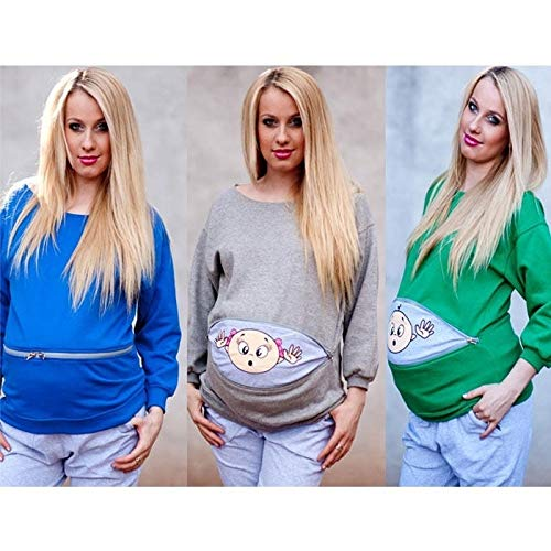 Blue Maternity Long Sleeve Blouse Solid Pregnancy Blouse Pregnant Clothes Top
