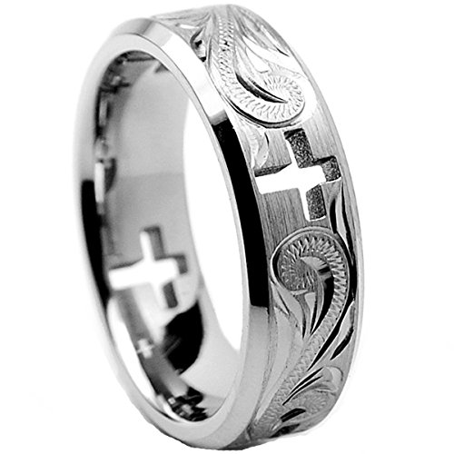 - Men's 7MM Titanium Ring Wedding Band With Cross Cut Out and Engraved Floral Design Size 11