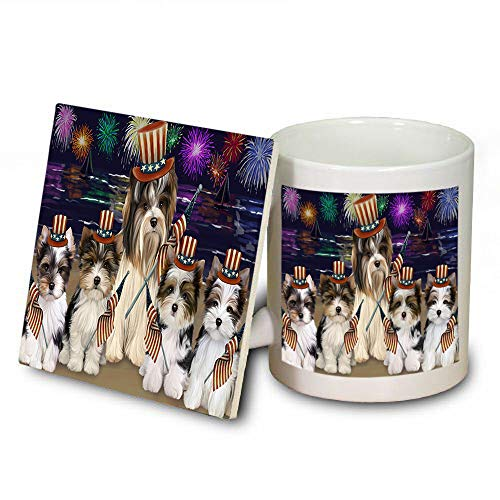 4th of July Independence Day Firework Biewer Terriers Dog Mug and Coaster Set MUC52399 (Independence Dishwasher Coasters Safe)