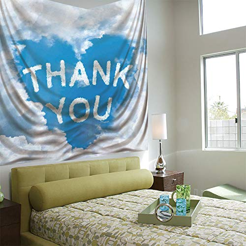 AngelSept Popular Flexible Hot Tapestries Privacy Decoration,Valentines Day,Writings On Air Heart Shaped Cloud Thank You Girlfriend and Boyfriend,Light Blue White