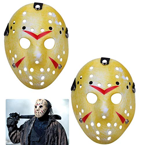 TinaWood Costume Jason Mask Cosplay Halloween Masquerade Party Horror Mask Christmas for Boys Kids, Men and Adults Friday The 13th (Yellow x2)