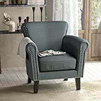 Brently Vintage Scroll Arm Studded Steel Blue Fabric Club Chair