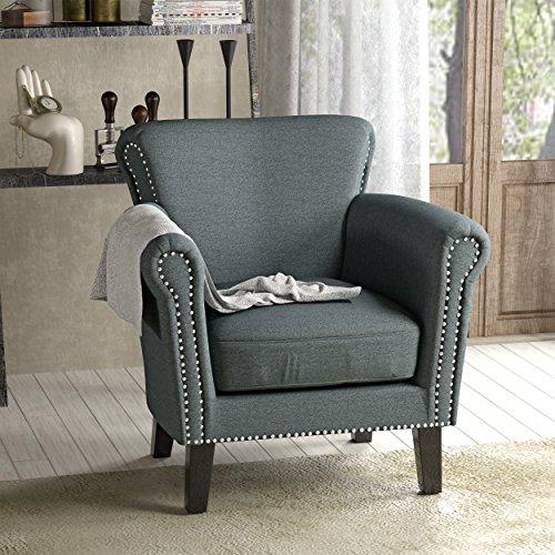 Studded Scroll (Brently Vintage Scroll Arm Studded Steel Blue Fabric Club Chair)