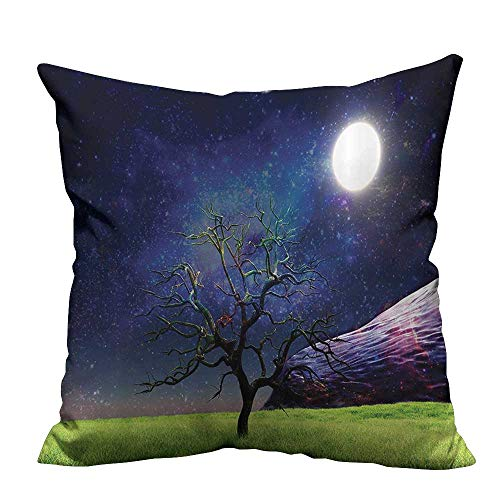 alsohome Throw Pillow Cover for Sofa Molight Illuminates Tree Full Galaxy Grassntasy Textile Crafts 16x16 inch(Double-Sided - Full Sleeper Galaxy Sofa